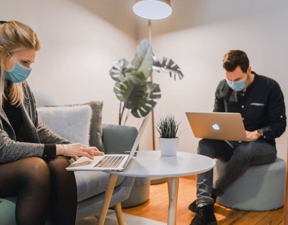 Remote workers on laptops